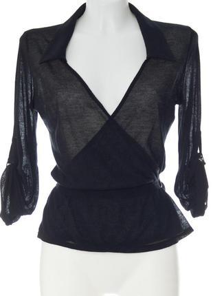 Черная хлопковая блуза с запахом