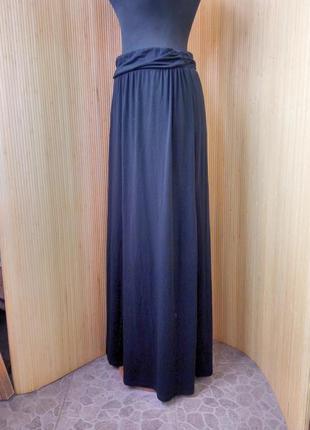 Чёрная трикотажная юбка макси с поясом резинкой