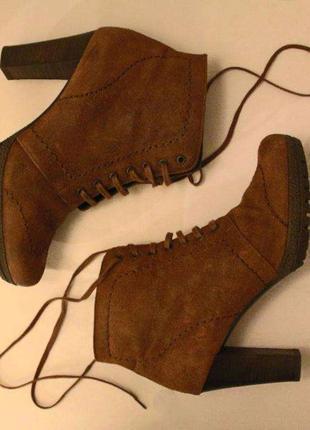 Кожаные демисезонные ботинки\ботильоны на каблуке högl | интертоп