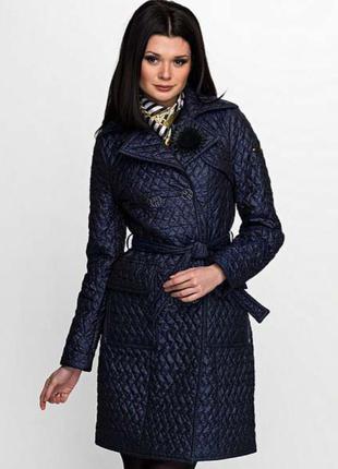 Освобождаю шкаф к весне! низкие цены! супер стильное стеганое пальто синего цвета