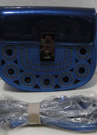 Женский стильный клатч с перфорацией (синий) 18-02-046