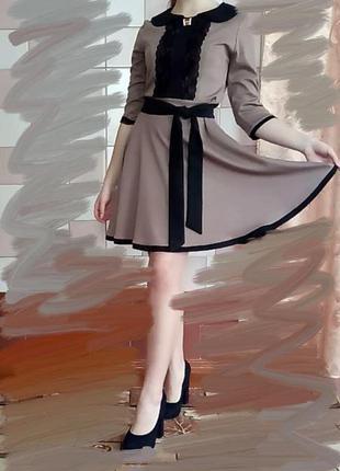 Женское платье кофе с молоком