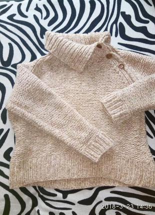 Шерстяной, песочный, вязаный, тёплый свитер, зима, moonsoon