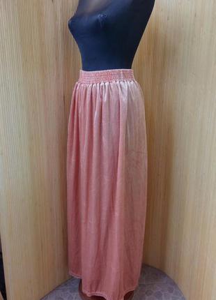 Персиковая юбка макси  фактурный велюр на резинке l/xl