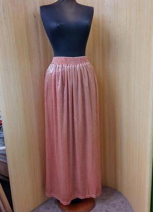 Персиковая юбка макси  фактурный велюр на резинке l/xl3
