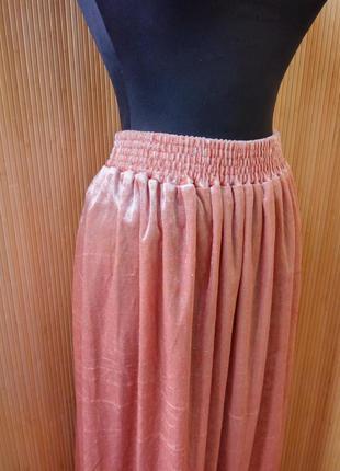 Персиковая юбка макси  фактурный велюр на резинке l/xl4