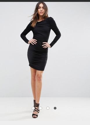 Чёрное вечернее трикотажное платье мини с открытыми плечами, с длинным рукавом