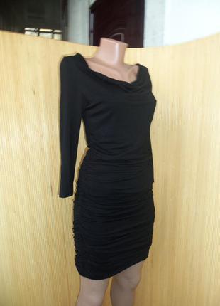 Чёрное вечернее трикотажное платье мини с открытыми плечами, с длинным рукавом3