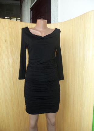 Чёрное вечернее трикотажное платье мини с открытыми плечами, с длинным рукавом4