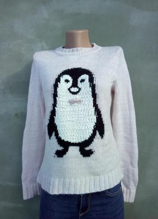 Розовый свитер с пингвином и бантиком
