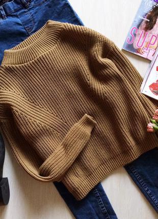 Стильный оверсайз укороченный свитер цвета camel boohoo, m