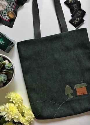 Джинсовая эко-сумка handmade