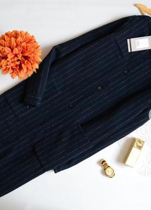 Zara бойфренд пальто синє в полоску з нашивками