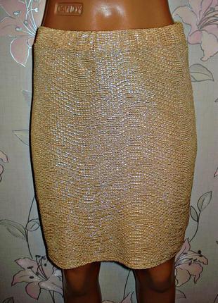 Золотистая юбка-резинка h&m