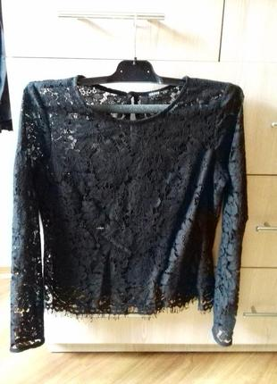 Блуза топ кружевная черная