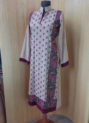 Длинная блуза тонкий хлопок с вышивкой / туника вышиванка s/m