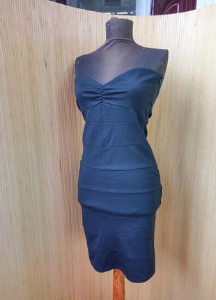 Чёрное вечернее трикотажное платье мини club l
