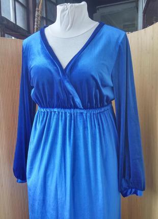 Длинное вечернее синее велюровое платье под грудь с длинным рукавом / платье макси l/xl2