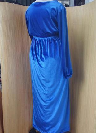 Длинное вечернее синее велюровое платье под грудь с длинным рукавом / платье макси l/xl3