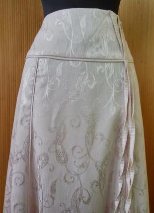 Пудровая длинная юбка с принтом fidan2