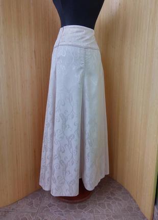 Пудровая длинная юбка с принтом fidan4
