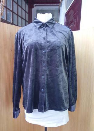 Пепельно серая блуза фактурный велюр l/xl