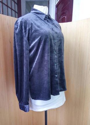 Пепельно серая блуза фактурный велюр l/xl2