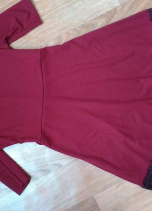 Платье марсала бордо с кружевом