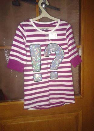 Новая футболка-реглан для девочки, р. 134-140