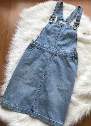 Стильный джинсовый сарафан юбка new look размер s-m