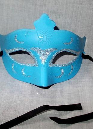 Маска карнавальная новая пластиковая цвет голубой