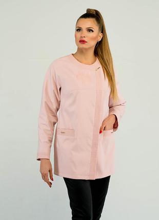 Женский плащ с вышивкой 46-54р  в стиле коко шанель  розовый пудровый