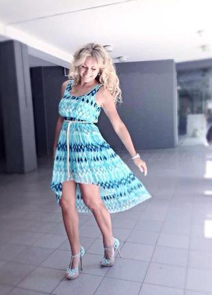 Платье/сарафан асимметричная юбка плиссе цвета морской волны от н&m