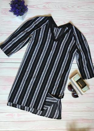 Платье сарафан туника удлиненная блузка в полоску оверсайз oversize