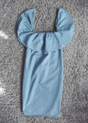 Джинсовое платье сарафан свободного кроя с открытыми плечами
