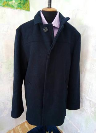 Синее мужское полу-пальто,шерстяное,жакет,пиджак,большой размер,пиджак.