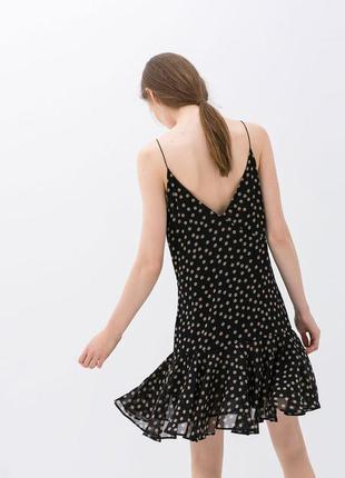 Стильное легкое платье-сарафан в горох от zara basic (размер 40)