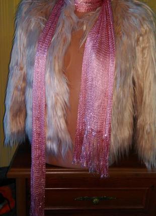 Шарф платок пудрового цевета с люрексом