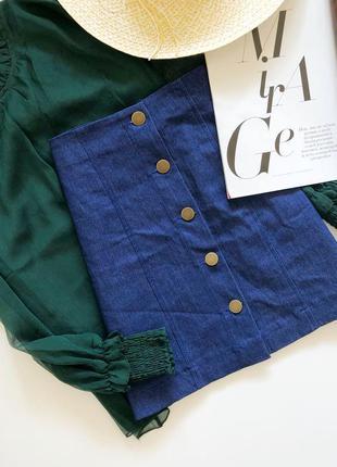 Стрейчевая джинсовая юбка трапеция