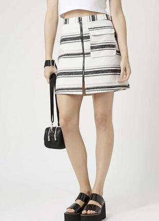 Оригинальная юбка color block с замочком спереди topshop