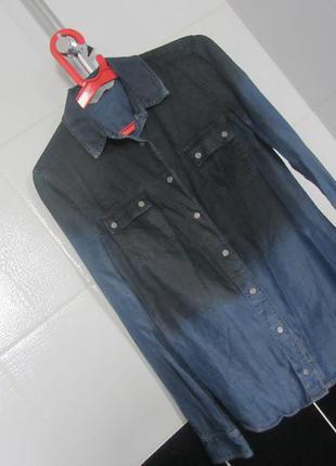 Фирменная джинсовая рубашка омбре от mango