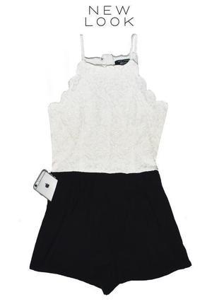 Ромпер черно-белый с кружевами new look