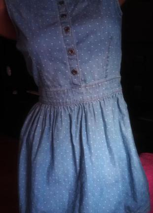 Джинсовое платье в горошек topshop