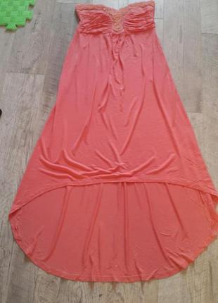 Платье бюстье  пудра с камнями для беременной