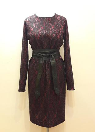 Платье гипюр с паетками на атласе