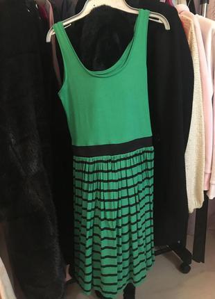 Платье летнее сарафан зеленый в полоску хлопок резинка под грудью свободное