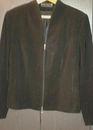 Пиджак черный в полоску серебристыми нитями на молнии, р. 46 (наш 50-52).
