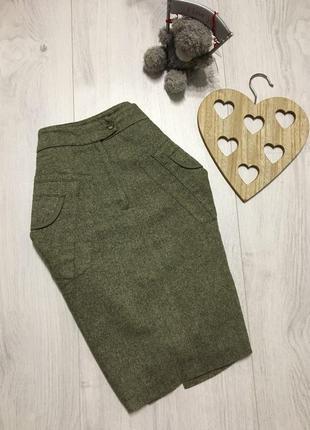 Тёплая классическая юбка  карандаш, стильная
