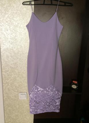 Сиреневое платье миди в бельевом стиле