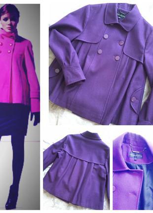 Шикарное укороченное пальто фасона колокольчик / шерстяное демисезонное полупальто